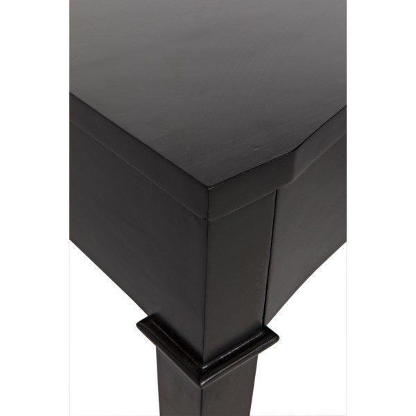 black curved wood desk close up