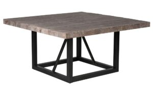 60″ Square Wood and Iron Dining Table
