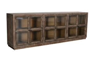 102″ Reclaimed Wood and Glass Sideboard