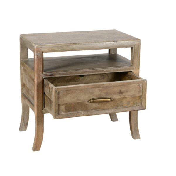 reclaimed wood nightstand with open drawer