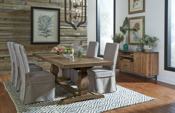 wood dining table in dining room setting