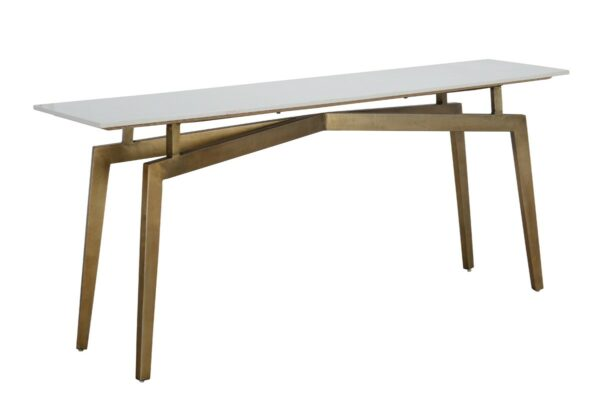 white marble console with brass base