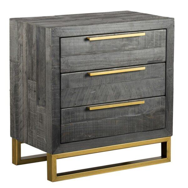 dark grey nightstand with brass hardware