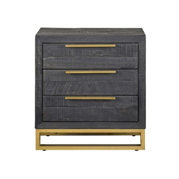 dark grey wood nightstand with brass hardware