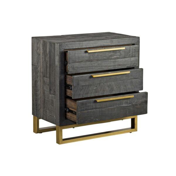 dark grey wood nightstand with open drawers