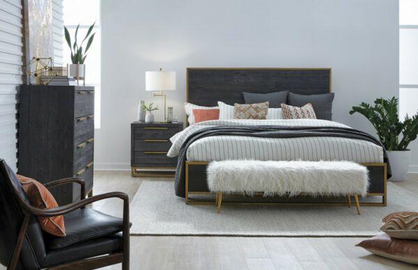 dark grey wood nightstand in bedroom setting