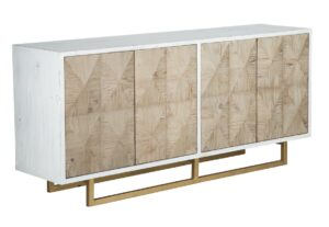 71″ White/Natural Wood Sideboard with Brass Base