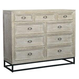 Artemis Whitewash 9 Drawer Dresser