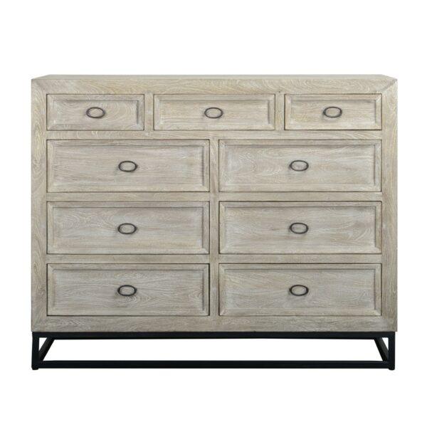 whitewash wood dresser front view