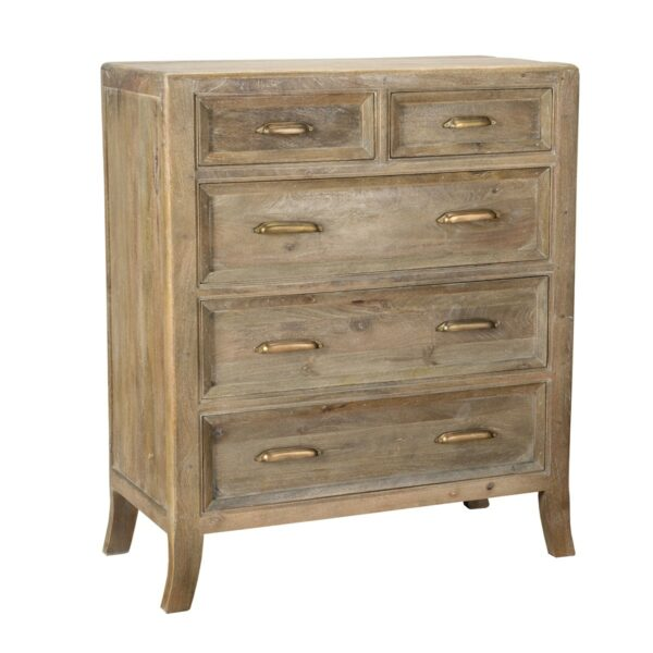 tall reclaimed wood dresser with brass hardware