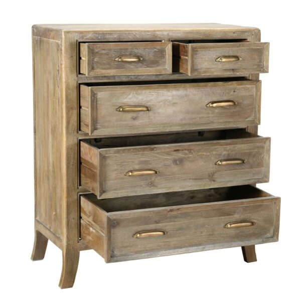 reclaimed wood tall dresser with open drawers