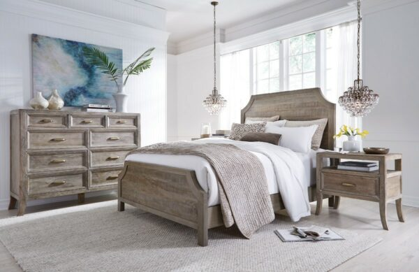 tall reclaimed wood dresser in bedroom setting