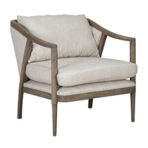 Scarlett Linen and Wood Accent Chair