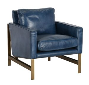 Chazzie Blue Leather Club Chair