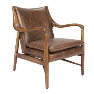 Kiannah Leather and Wood Club Chair