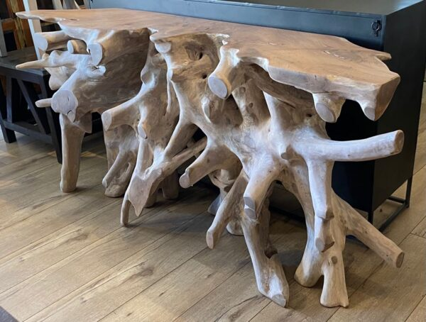 """71"""" Natural teak root console table"""