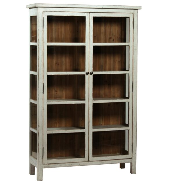 antique grey wood glass cabinet