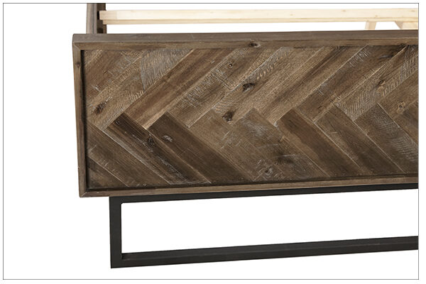 reclaimed wood herringbone bed close up