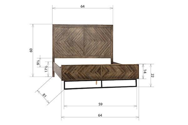 reclaimed wood herringbone bed