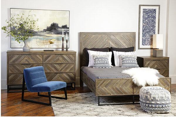 reclaimed wood herringbone bed in bedroom setting