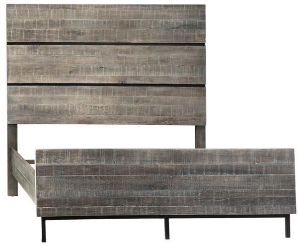 Dark grey oak bed with headboard