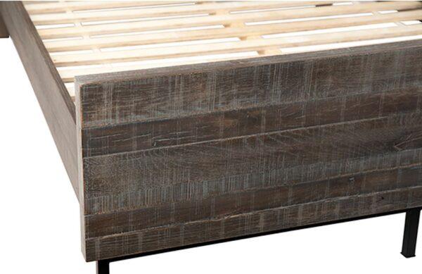 Dark grey oak bed with headboard detail of footrest