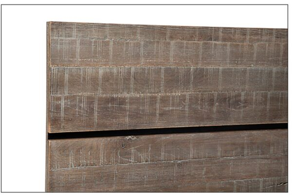Dark grey oak bed with headboard detail
