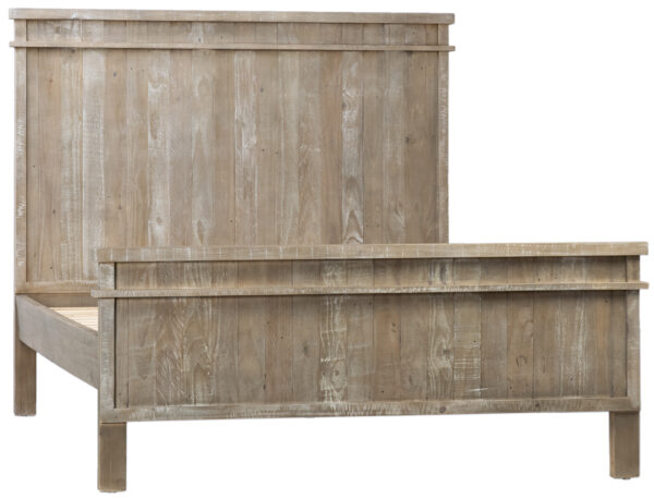 Reclaimed pine wood bed with tall headboard and distressed light brown finish