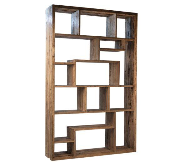 tall wood bookshelf with plenty of shelves