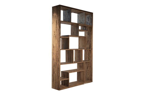 Large solid wood bookcase with rectangular compartments and natural finish side view