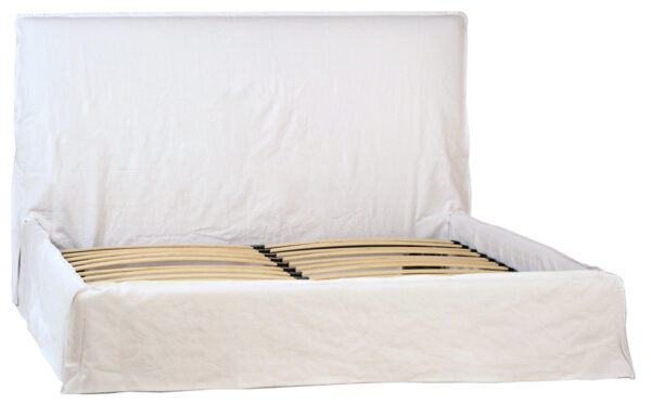 white slipcover bed