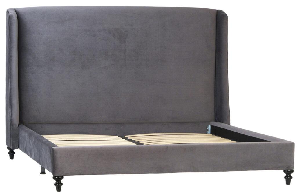 Sheldon Grey Velvet Bed