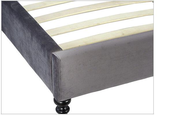 dark grey velvet bed close up