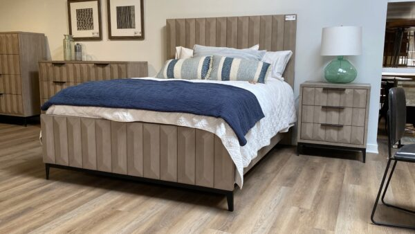 wood bed in bedroom setting