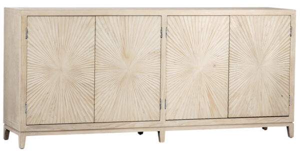 Light grey wash sideboard media console cabinet with carved doors