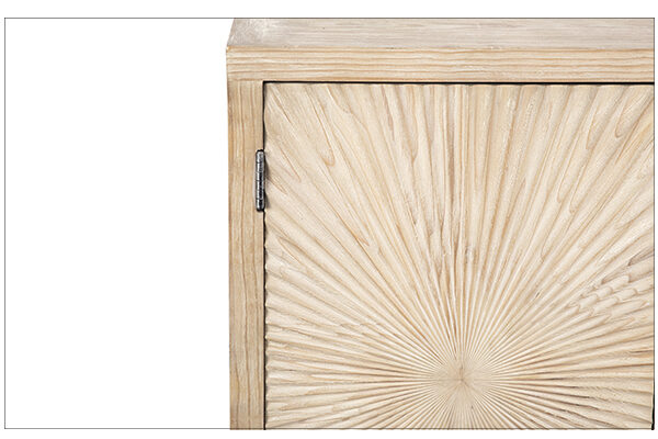 Light grey wash sideboard media console cabinet with carved doors closeup