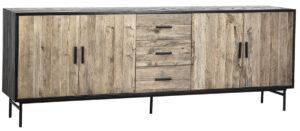 Hagen Black and Natural Oak Wood Media Cabinet