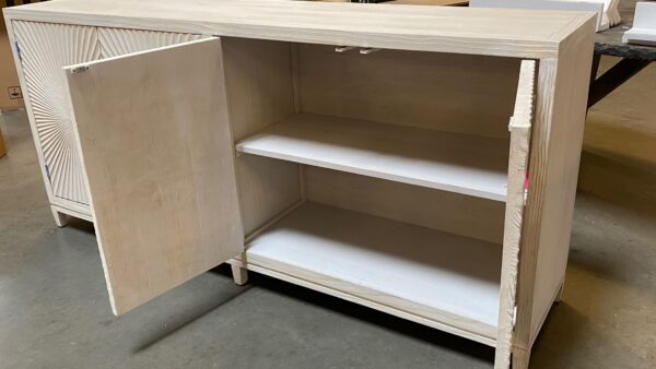 Light grey wash sideboard media console cabinet with carved doors inside view