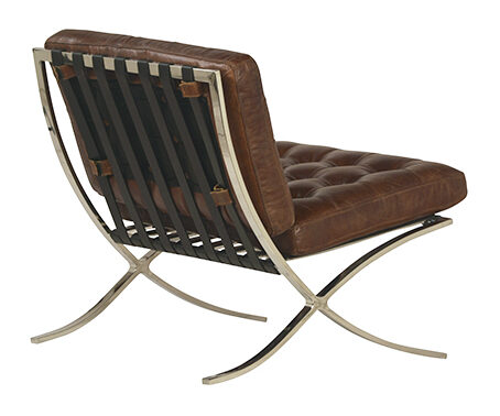 Barcelona style brown leather chair with chrome legs
