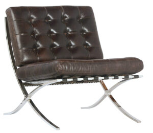 Dark Brown Lightly Distressed Leather Chairs with Chrome Base (set of 2)