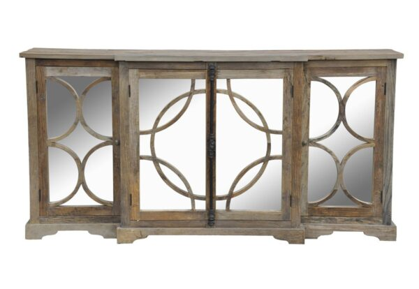 Wood sideboard with mirror doors front view