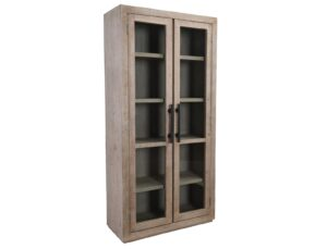 91″ Tall Pine and Glass Alida Cabinet