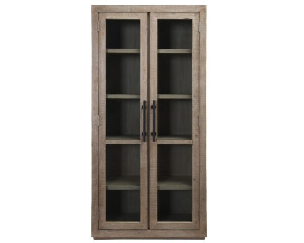 tall cabinet with glass doors front view