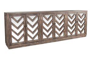 Melbourne Chevron Wood Mirrored Sideboard
