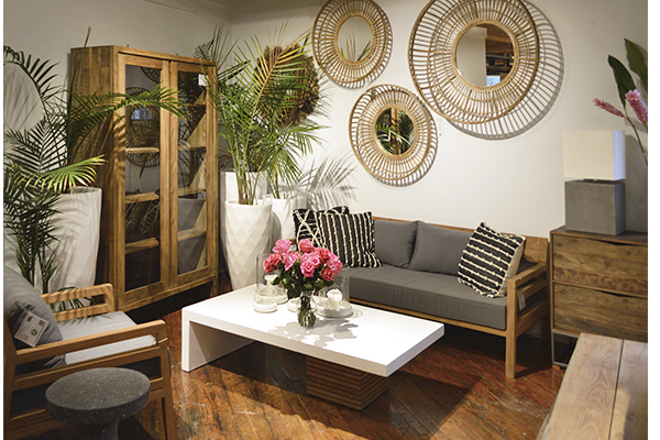 living room with White concrete coffee table