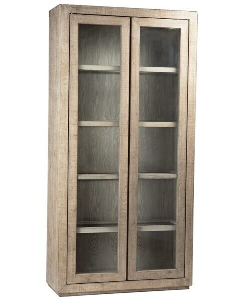 White wash tall cabinet with glass doors