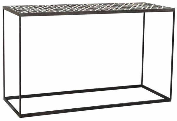 Black and white bone inlay console table