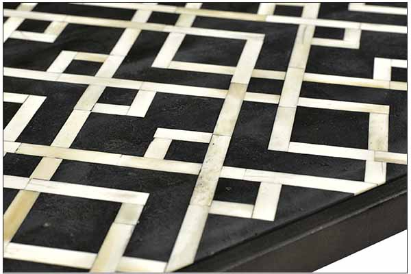 Black and white bone inlay console table top view