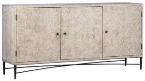 Lester Grey Washed Wood and Iron Sideboard
