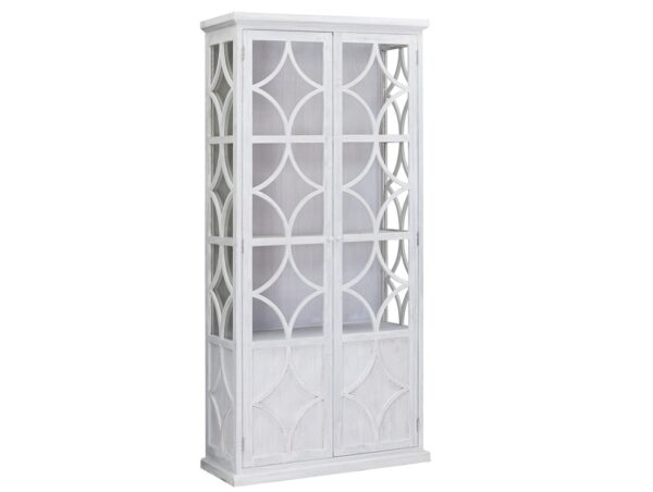 tall white glass cabinet